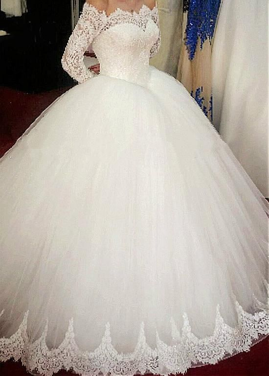 New Lace Wedding Dresses Ball Gown Long Sleeve Bridal Gown Custom 2 4 6 8 10 12+