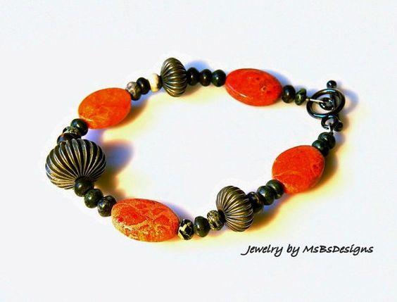 Red Sponge Coral Bracelet Bangle Cuff Orange by MsBsDesigns, $38.00
