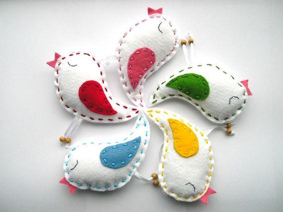 Coloré gouttes me sentais oiseaux ornements, printemps été ressenti ornements, décoration intérieure, se sentait oiseaux, ensemble de 5 morceaux