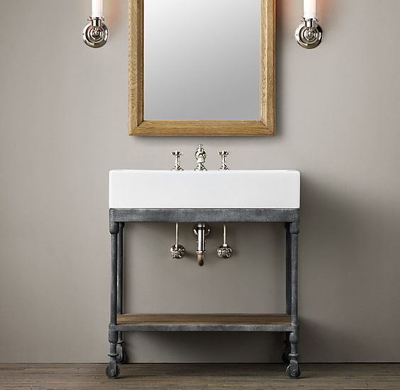 Dutch industrial console powder room vanity also need to for Powder bathroom vanities