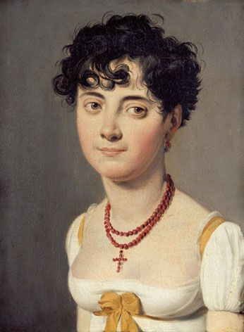 Lady with coral necklace, French, 1820: