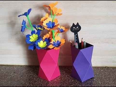 How To Make 3D Origami Flower Vase V10   cómo hacer florero de ...   360x480