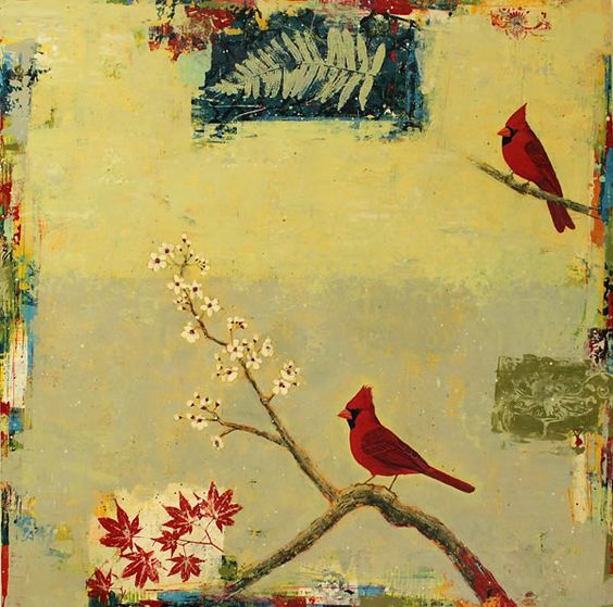 """Mixed media on canvas; Paul Brigham.  This series of birds features Japanese-style block prints and papers, with textured edges and copious amounts of white space.  I love this:  """"Northern Cardinals""""."""