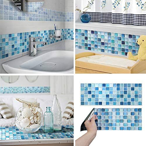 Beaustile Decorative Tile Stickers Peel And Stick Backsplash Fire Retardant Tile Sheet N Blu Peel N Stick Backsplash Blue Tile Backsplash Decorative Tile