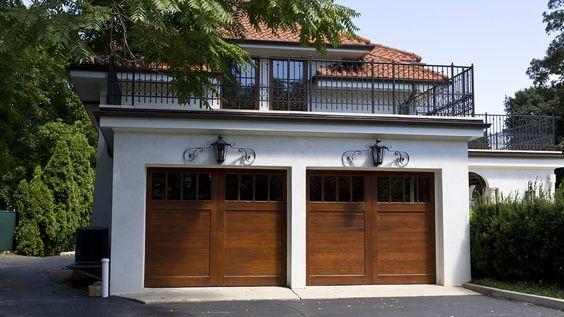 Flat roof garage 2 story garage pinterest flats for Deck over garage designs