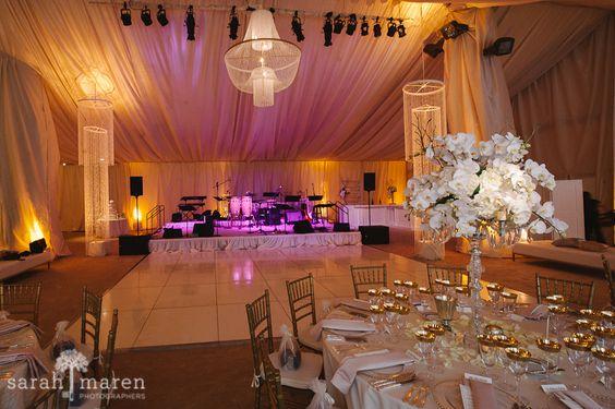 Crocker Art Museum Wedding Photos - tented dance floor with bandstand - Sarah Maren Photographers