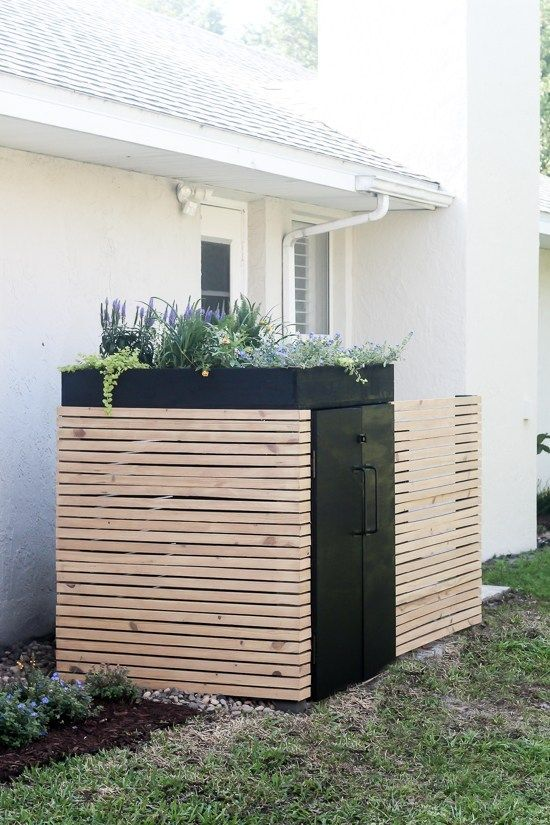 Diy Modern Ac Unit Cover And Trash Can Storage Ac Unit Cover
