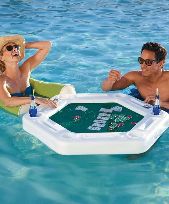 Our exclusive floating poker table is perfect for a pool for Swimming pool poker