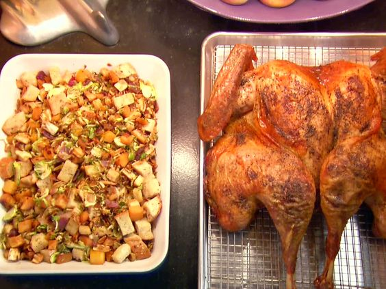 Butterflied, Dry Brined Roasted Turkey with Roasted Root Vegetable Panzanella Recipe : Alton Brown : Food Network - FoodNetwork.com