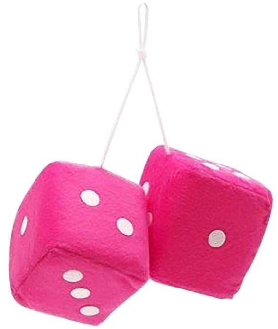 "Amazon.com: Cool & Custom {3"" Inch w/ String} Single Pair of ""Fuzzy, Furry & Fluffy Plush Dice"" Rear View Mirror Hanging Ornament Decoration w/ Classic Retro 70s Muscle Car Design [Volvo Pink and White Color]: Automotive"