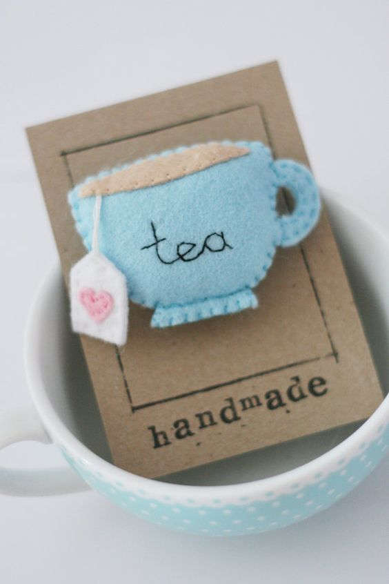 Blue Teacup Felt Brooch, Tea, Embroidery, Teabag sweet little gift accessory to make for mothers day for mum or gran or your friends or self to add a little quirky shabby chic to a jacket , cardigan or bag