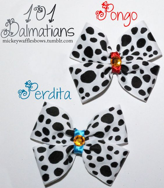 101 Dalmatians Hair Bow Pongo OR Perdita by MickeyWaffles on Etsy, $7.00