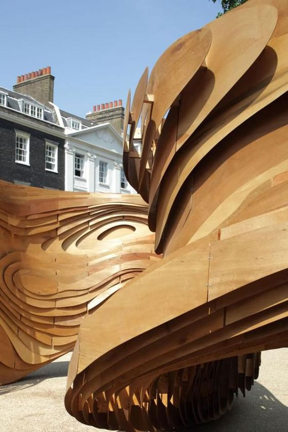 'Driftwood', the Architectural Association's summer pavilion designed by Unit 2 Students is unveiled today in Bedford Square, London.: