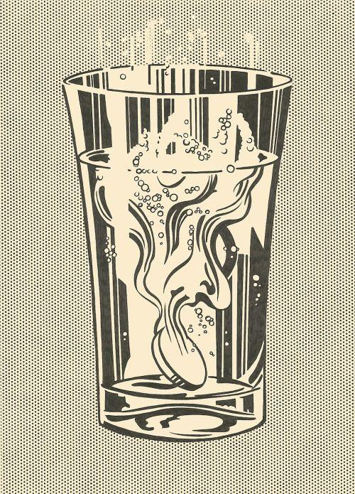 phasesphrasesphotos:  magictransistor:  Roy Lichtenstein, Alka Seltzer, 1966.   Plop Plop, Fizz Fizz! Oy!
