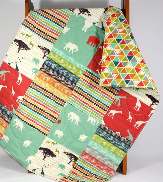 Organic Patchwork Quilt  Modern Baby Blanket by bordercityquilts
