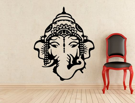 Ganesha Wall Decal Indian God Sticker Nursery Home Interior Murals Art Decoration (113u)