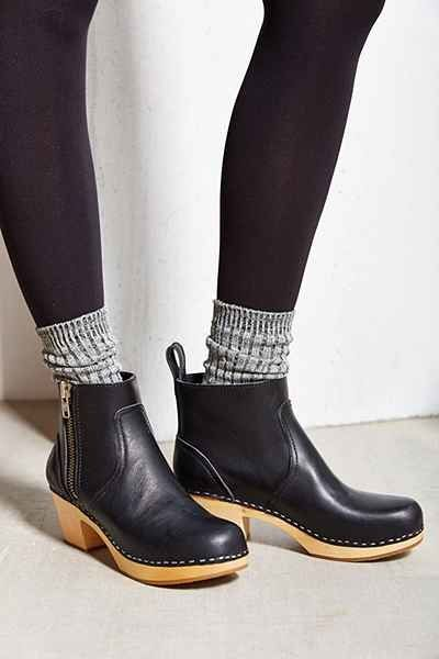 Zip clog style ankle booties.