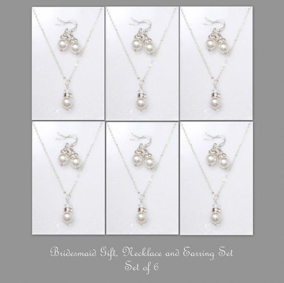 Custom Bridesmaid Gift Set of 6 Swarovski by alexandreasjewels
