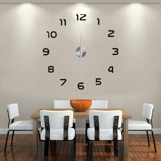 2016 nova indoor decoração relógio de parede DIY relógio de parede moderno breve 3D papel de Parede personalizado relógios digitais e relógios frete grátis