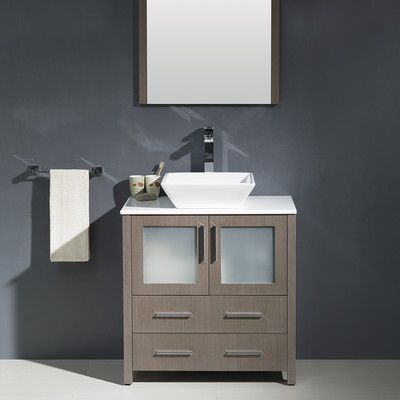 "Fresca Torino 30"" Single Modern Bathroom Vanity Set with Mirror"