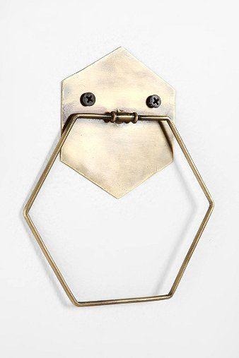 hexagon brass towel ring