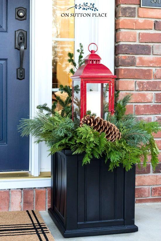 Easy Christmas Porch Decor Ideas On Sutton Place Christmas Porch Decor Christmas Planters Diy Christmas Lanterns