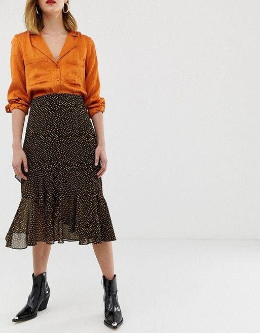 pre order half off best wholesaler Whistles confetti heart frill midi skirt | Midi skirt, Skirts ...