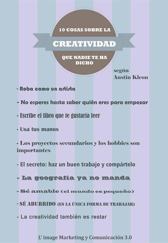 Las 10 cosas que nadie te ha dicho acerca de ser creativo #creatividad  http://www.limagemarketing.es/servicios/ L'image Marketing | Agencia de Publicidad y Comunicación en Sevilla