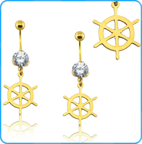BR01552 Fashion cheap custom stainless steel navy style crystal belly button ring
