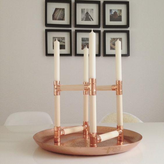 DIY Kupfer und Fichtenholz Kerzenständer