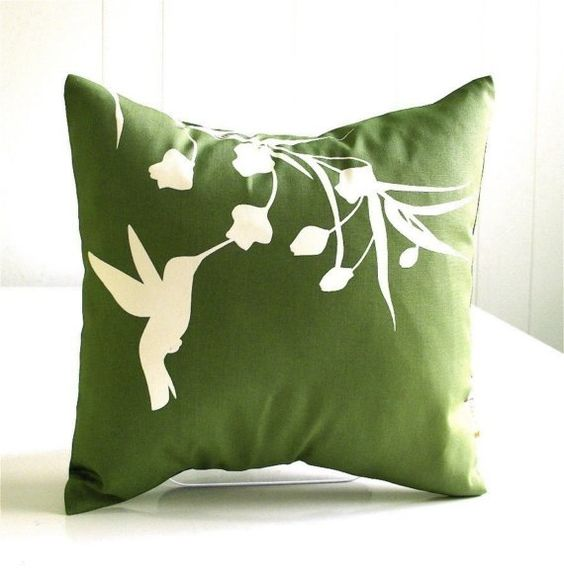 Olive Green Hummingbird with Eucalyptus - Mini 10.5 Inches Square Pillow.. I'd like to try and make this!