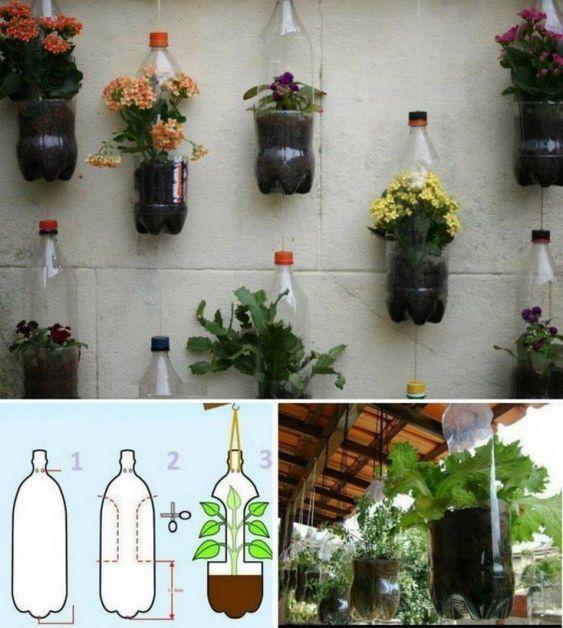 C mo hacer sencillos maceteros con botellas de pl stico de for Jardines verticales historia