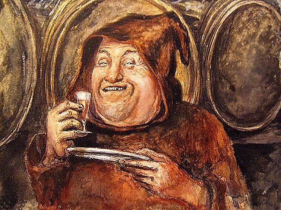 Moine buvant dans une cave  (Drinking monk in a cellar)  Ecole germanique (German School) 19th century