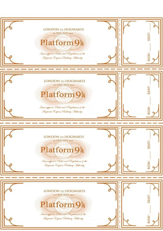 Free Harry Potter Hogwarts Express Ticket Template plus links to – Plate Sale Ticket Template