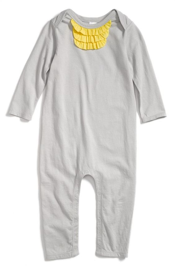 Yellow Ruffle Accented Baby Romper By Nordstrom Baby For Girls