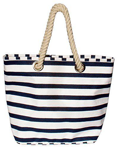 """Strandtasche xxl beachbag, Einkaufstasche marine, Shopper maritim aus Segeltuch, Classic """"Bari"""" Breite ca. 50cm, Höhe ca. 39cm mit Innentasche, Beach Bag"""
