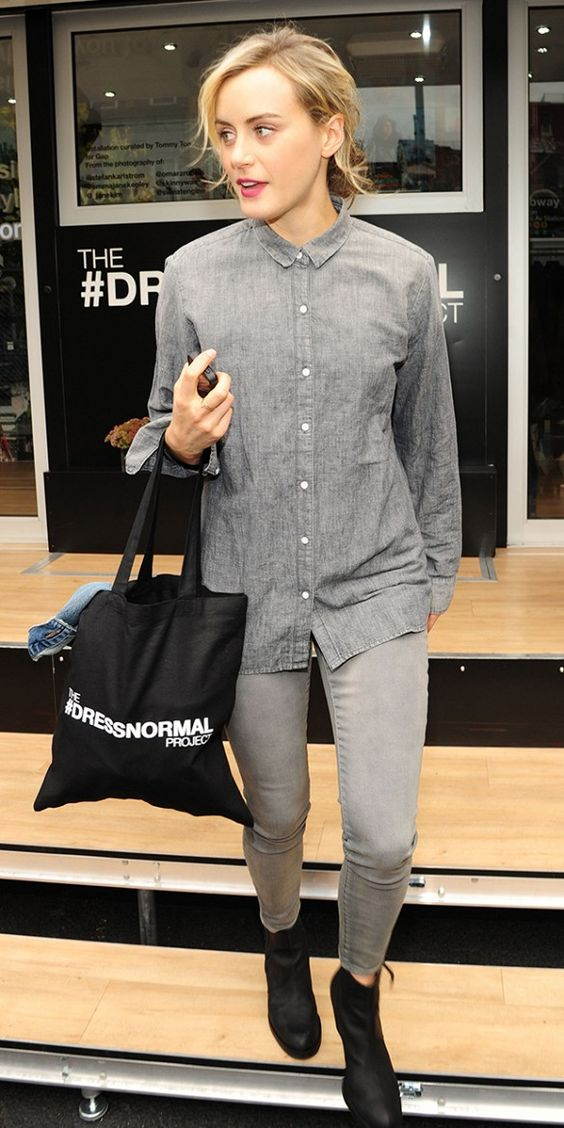 Taylor Schilling wears denim shirt and gray jeans for Gap #DRESSNORMAL Project.