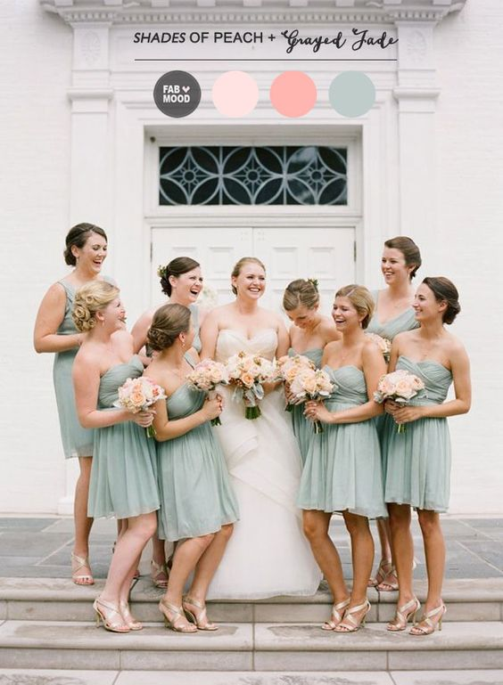 Read more Shades of Peach and Grayed Jade Wedding Colour Palette, greyed jade wedding | dusty teal | www.endorajewellery.etsy.com