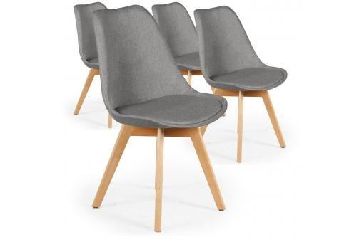Lot De 4 Chaises Scandinaves En Tissu Gris Wendy Sofactory Chaise Scandinave Mobilier De Salon Meuble De Style