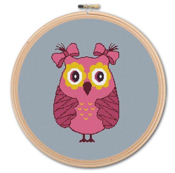 Pretty Owl,  Counted Cross stitch , Pattern PDF, Instant download. Cross stitch pattern . Includes easy beginner instructions.