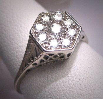 Antique Diamond Wedding Ring Vintage Art Deco White Gold Engagement 2CT Look.via Etsy. #dental #poker