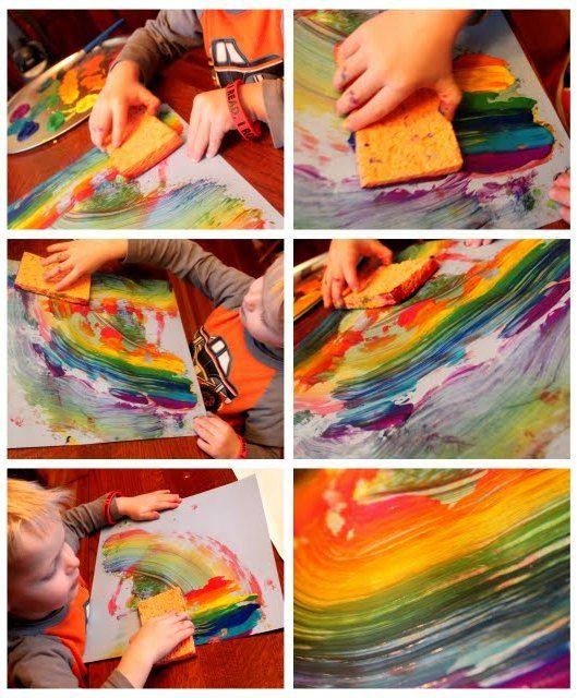Sponge Painting Rainbow Art
