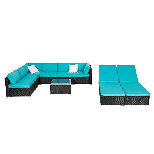 Check This Kinbor 9pcs Outdoor Patio Rattan Wicker Sofa Sectional