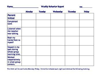 This is the sheet that goes home in folders each night for parents to initial and return.  It can be completed using basic checkmarks, stamps, or small stickers.  I used this to keep parents informed about behaviors.  Students who followed direction all week (or were only missing one or two checks) got to visit the prize box on Friday afternoon.