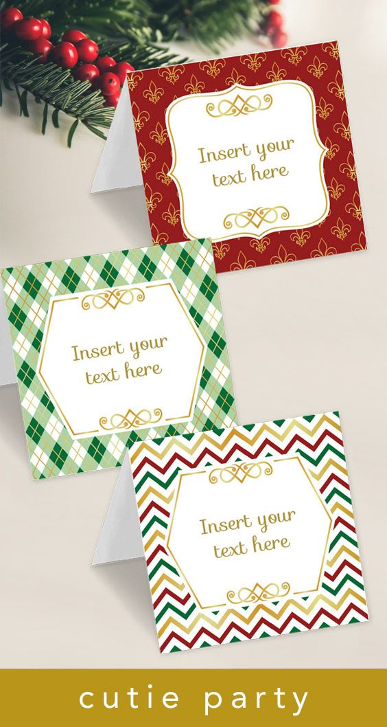 Click To Purchase A Template For Christmas Tent Card With Editable Text Perfect For Buffet Cards Name Plac Favor Bag Toppers Christmas Buffet Christmas Cards