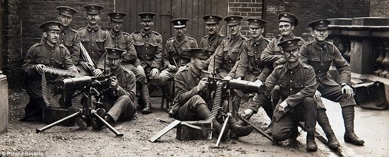 Doomed: Not a single soldier from this Irish Guards machine-gun team, pictured in 1914, survived the horrific slaughter on the battlefield