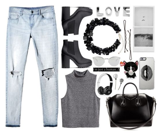 """Black n White Dayz"" by lindsaysarson ❤ liked on Polyvore featuring H&M, Givenchy, Beats by Dr. Dre, Fendi and Lipsy"