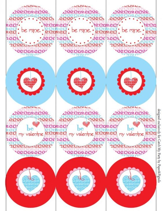The collection includes: editable invitations, party circles, favor tags, editable tented cards, an editable banner, straw flags, and little cute Valentines: