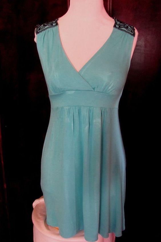 Bebe Blue Black Rayon Blend Lace Back Tank Medium #bebe #KnitTop #Casual