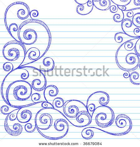 Hand Drawn Sketchy Doodles Swirly Border On Lined Notebook